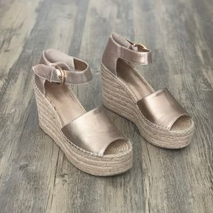 Marc Fisher Alida Gold Espadrille Wedge Sandal 8.5